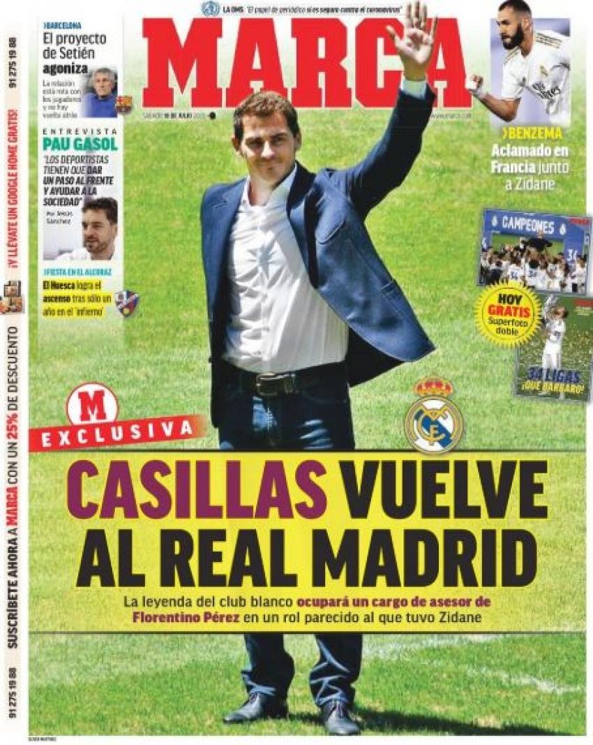 عودة كاسياس وترنّح سيتين يتصدران الصحف الإسبانية